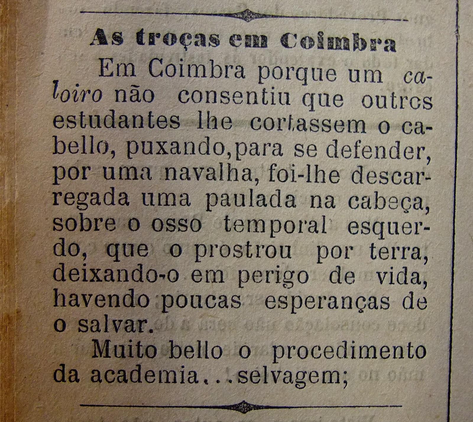 Troças e Rapanço em Coimbra, in A Liberdade, 23 maio 1890, 20º Anno, nº 1016, p.2